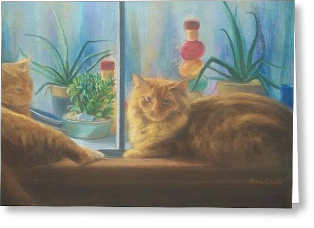 Cats In The Window Greeting Card by Diane Caudle