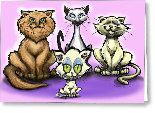 Cats Greeting Card by Kevin Middleton