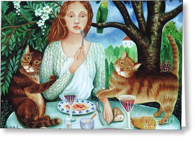 Cats Love Spaghettis Greeting Card by Colette Raker