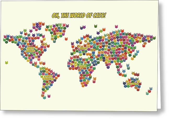 Cats Map Of The World For Kids Greeting Card