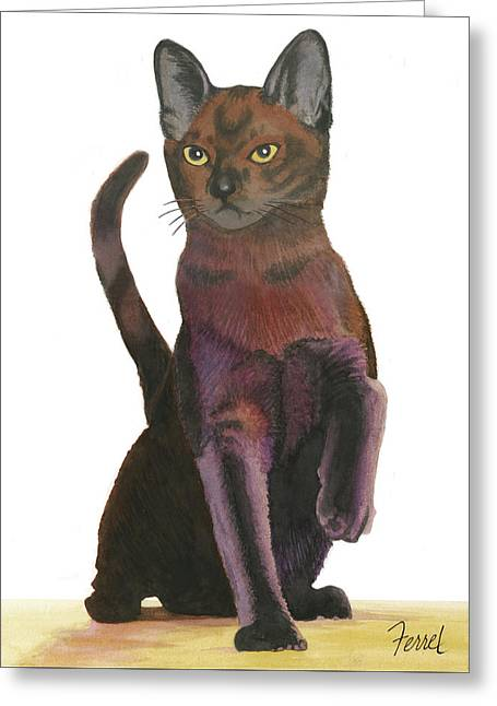 Greeting Card featuring the painting Cats Meow by Ferrel Cordle
