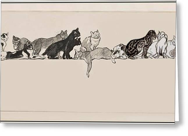 Cats On A Ledge Greeting Card by MotionAge Designs