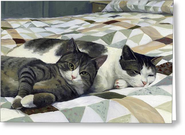 Cats On The Quilt Greeting Card by Alecia Underhill