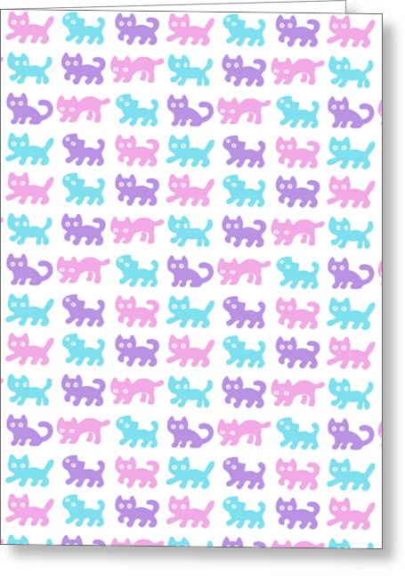 Cats Pattern In Pastel Colors Greeting Card
