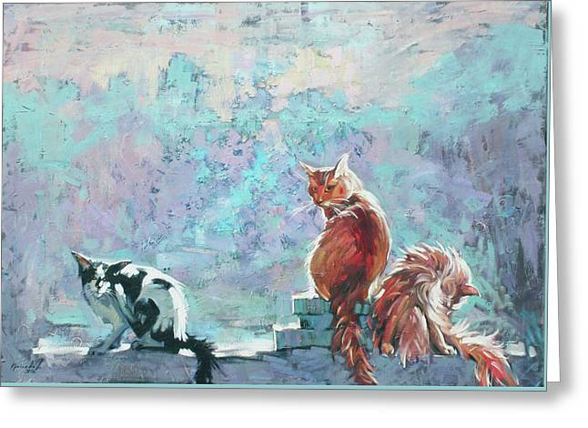 Greeting Card featuring the painting Cats. Washed By Rain by Anastasija Kraineva