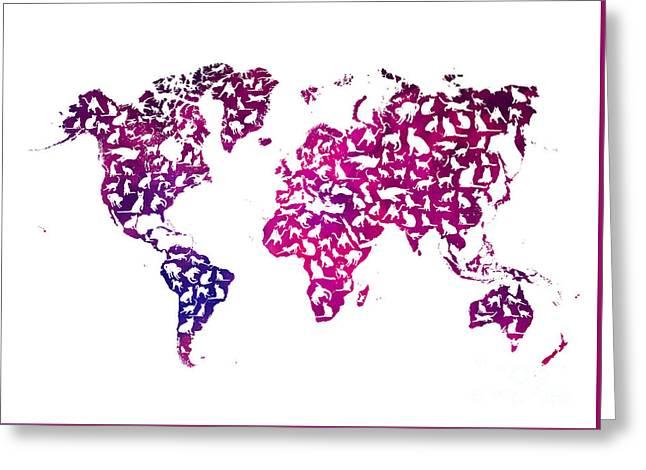 Cats World Map Purple Greeting Card by Justyna JBJart