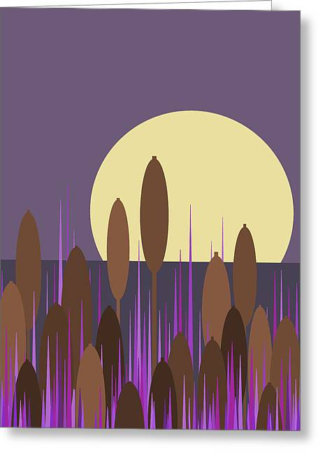 Cattail Greeting Card by Val Arie