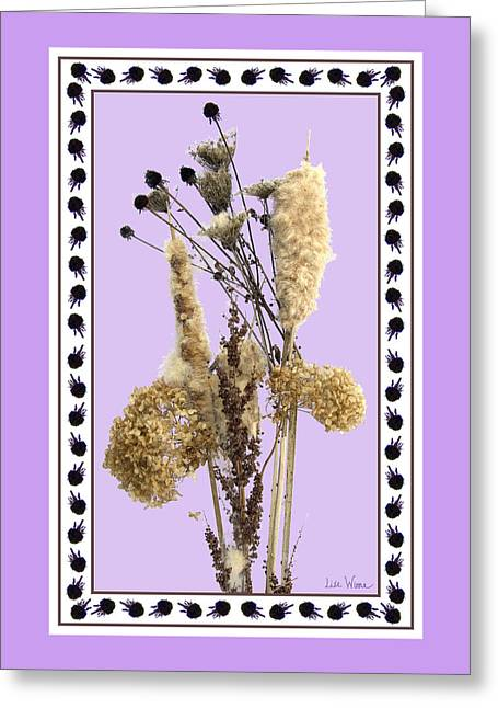 Cattails And November Flowers Greeting Card by Lise Winne