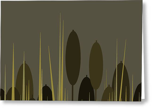 Cattails In The Rain Greeting Card by Val Arie