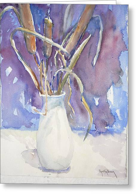 Cattails On White Greeting Card by Dorothy Herron