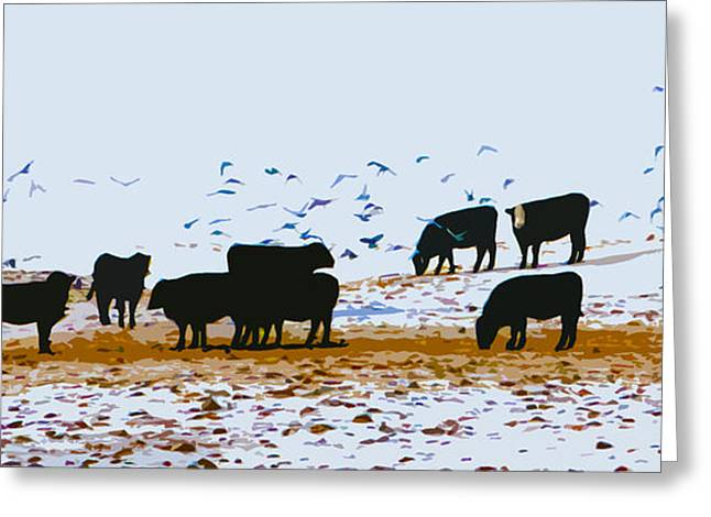 Cattle And Birds Greeting Card
