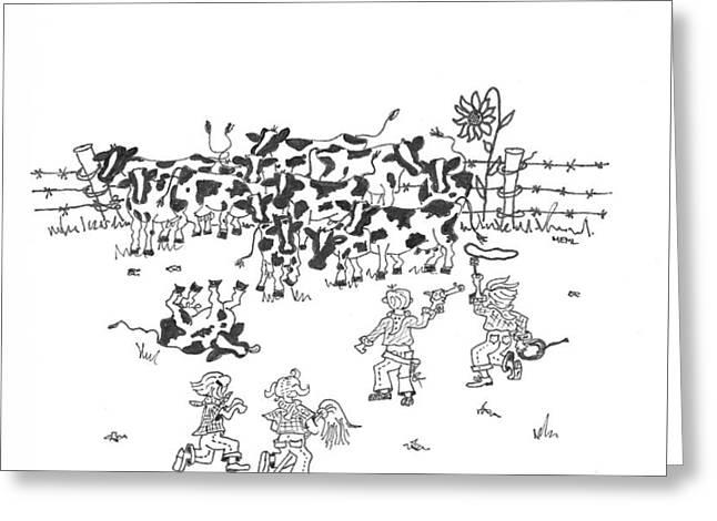 Cattle Rustlers Greeting Card by Mary Ellen Mueller Legault