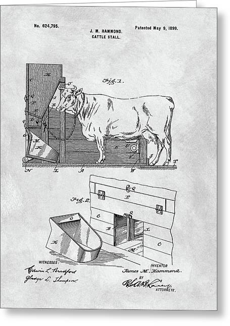 Cattle Stall Patent Greeting Card
