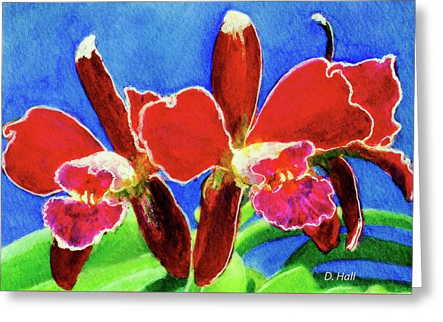 Cattleya Orchids Flowers #215 Greeting Card by Donald k Hall