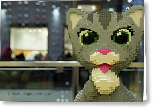 Greeting Card featuring the photograph Caturday In Legoville by Lora Lee Chapman