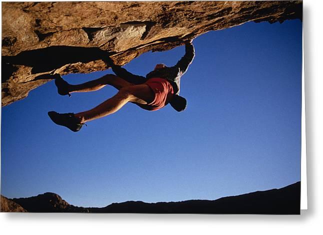 Caucasian Climber Scaling An Overhang Greeting Card