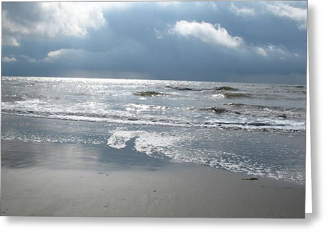 Sun Breaking Through Clouds Photographs Greeting Cards - Caught a Wave Greeting Card by B Rossitto
