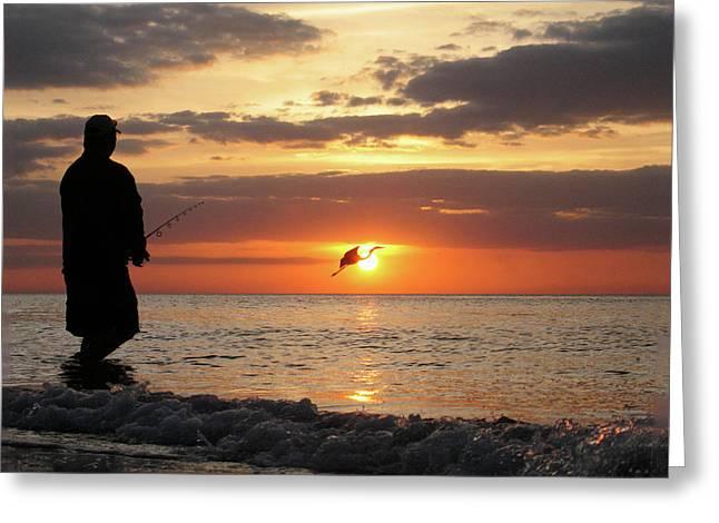 Caught At Sunset Greeting Card