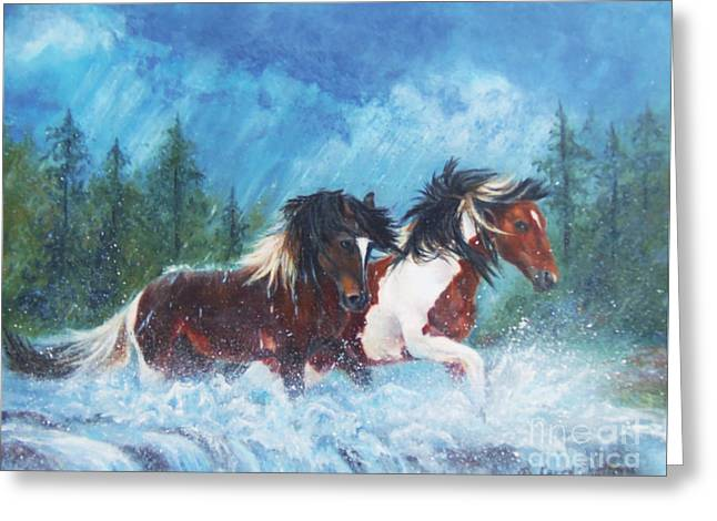 Caught In The Rain  Greeting Card by Karen Kennedy Chatham