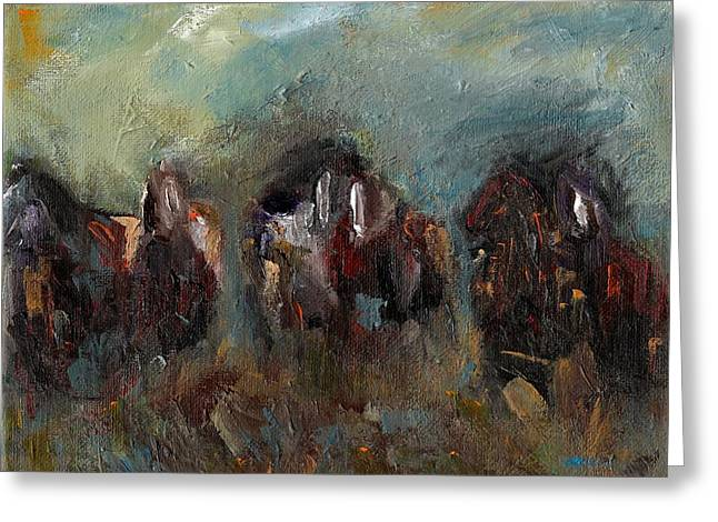 Horse Herd Greeting Cards - Caught Up In The Moment Greeting Card by Frances Marino