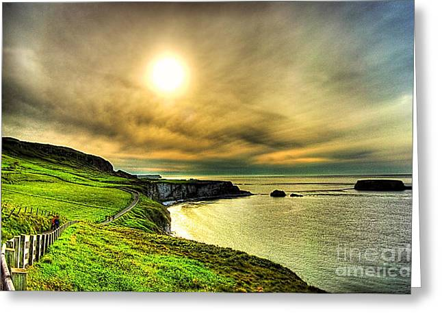 Causeway Sunset Walk Greeting Card by Kim Shatwell-Irishphotographer