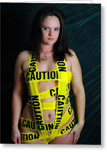 Caution Greeting Card by Dana  Oliver