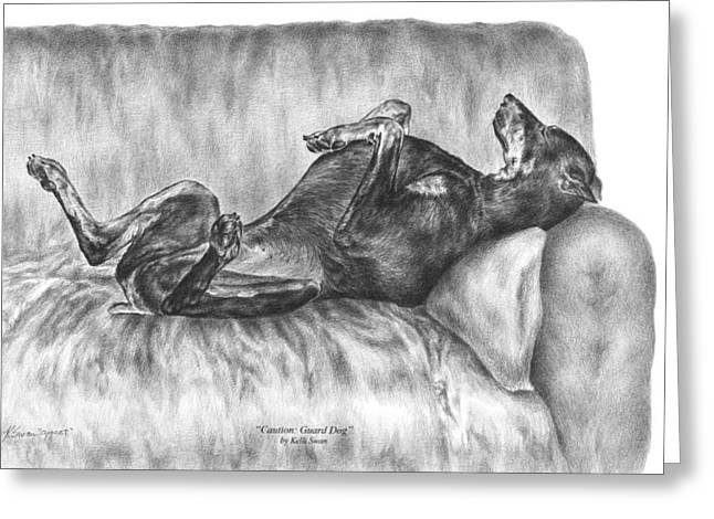 Kelly Greeting Cards - Caution Guard Dog - Doberman Pinscher Art Print Greeting Card by Kelli Swan