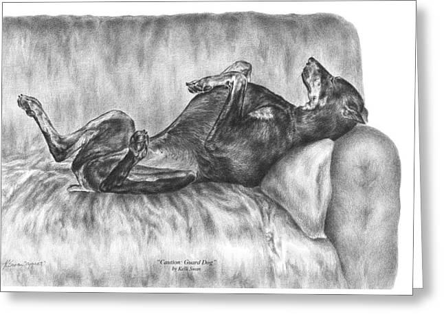 Caution Guard Dog - Doberman Pinscher Art Print Greeting Card