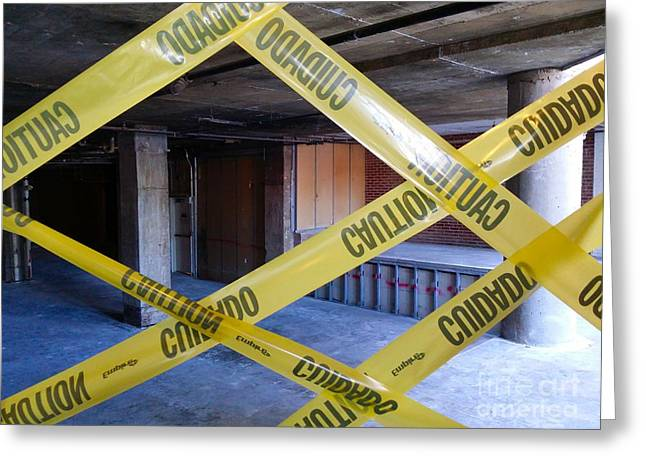 Caution Tape Greeting Card by Ben Schumin