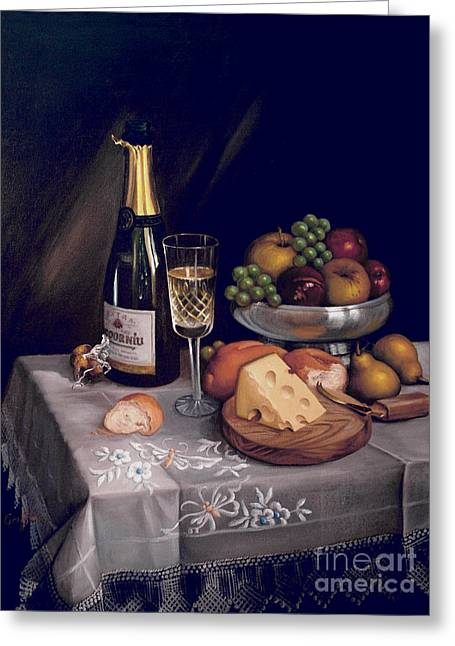 Cava Y Queso Greeting Card by Mai Griffin