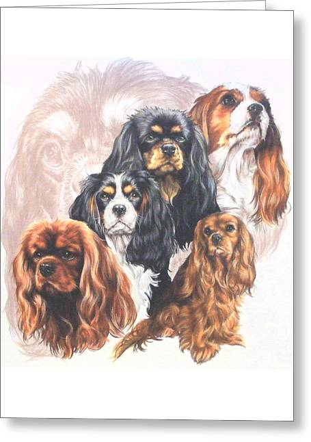 Cavalier King Charles Spaniel With Ghost Image Greeting Card by Barbara Keith