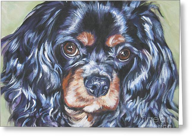 Black And Tan Greeting Cards - Cavalier King Charles Spaniel black and tan Greeting Card by Lee Ann Shepard