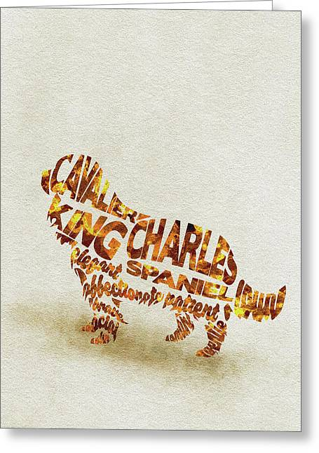 Greeting Card featuring the painting Cavalier King Charles Spaniel Watercolor Painting / Typographic Art by Ayse and Deniz