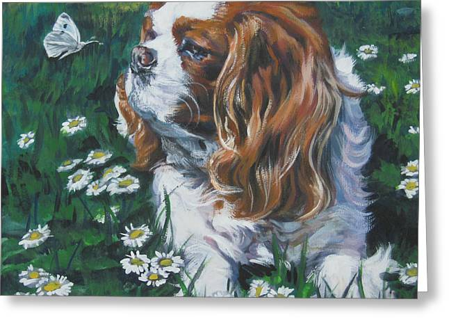 Cavalier King Charles Spaniel With Butterfly Greeting Card