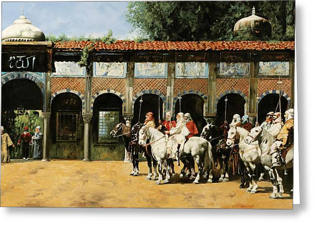 Cavalieri In Cortile Greeting Card by Guido Borelli