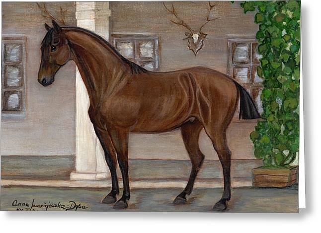 Polscy Malarze Greeting Cards - Cavalry Horse Greeting Card by Anna Folkartanna Maciejewska-Dyba