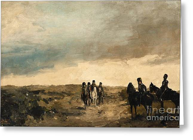 Cavalry Men Maneuvering In The Dunes Greeting Card