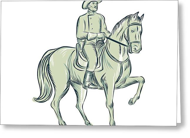 Cavalry Officer Riding Horse Etching Greeting Card