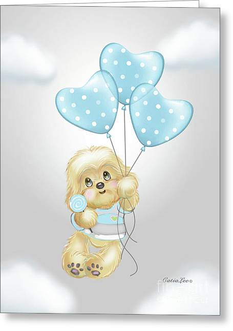 Greeting Card featuring the painting Cavapoo Toby Baby by Catia Lee