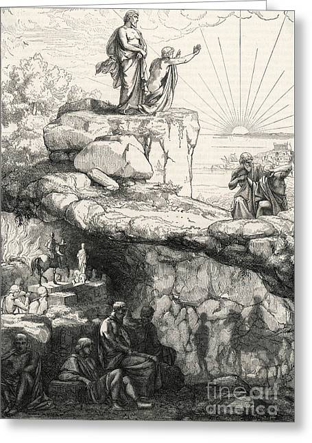 Cave Allegory Of Plato Greeting Card