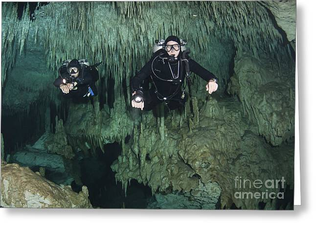 Cave Divers In Dreamgate Cave System Greeting Card by Karen Doody