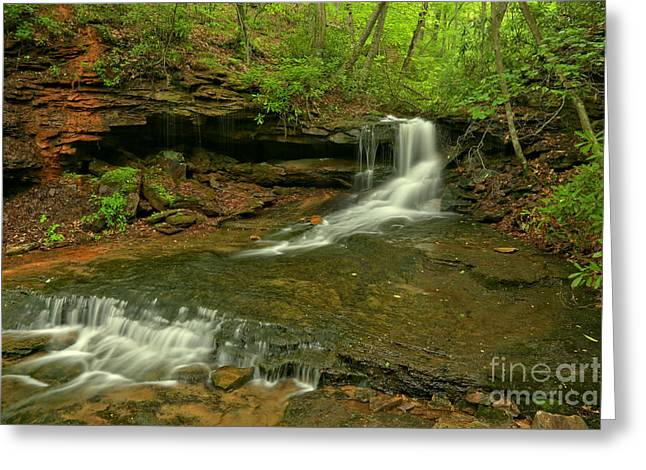 Cave Falls Arial View Greeting Card by Adam Jewell