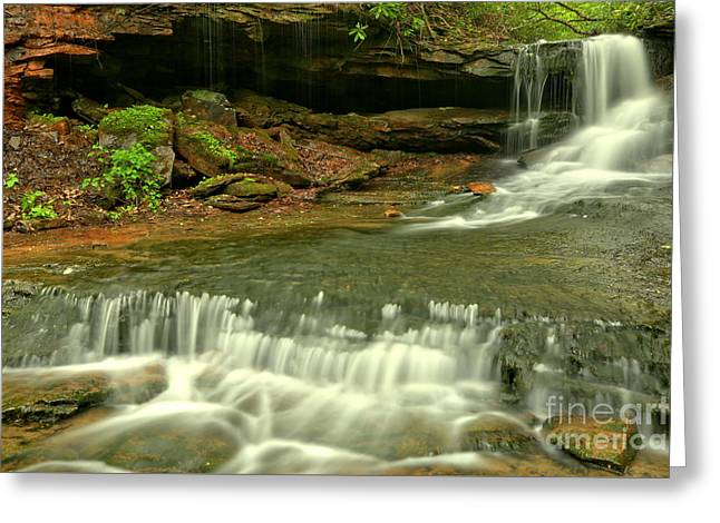 Cave Falls Cascades Greeting Card by Adam Jewell