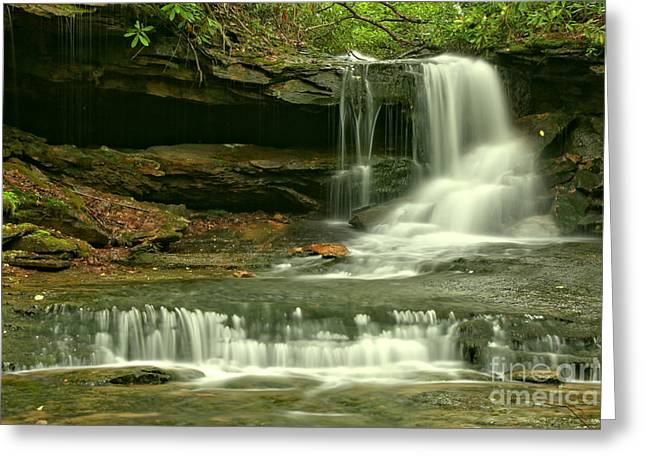 Cave Falls Gentle Cascades Greeting Card by Adam Jewell