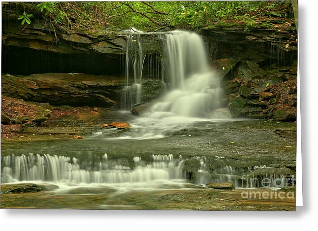 Cave Falls In The Laurel Highlands Greeting Card by Adam Jewell
