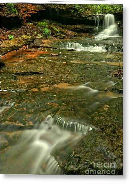 Cave Falls Portrait Greeting Card by Adam Jewell