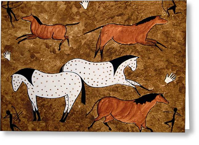Greeting Card featuring the painting Cave Horses by Stephanie Moore