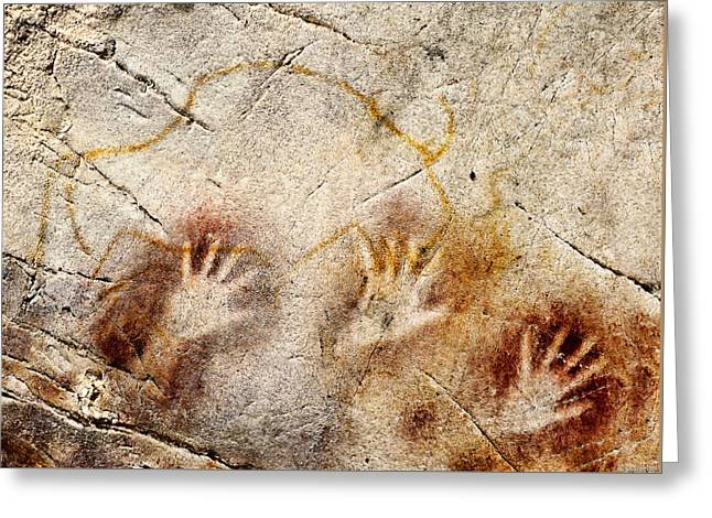 Cave Of El Castillo Hands And Bison Greeting Card