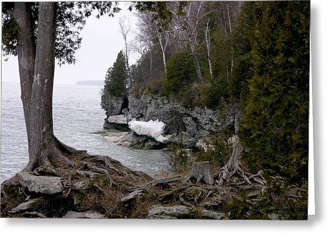 Cave Point Wisconsin Greeting Card by Keith Stokes