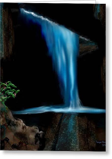 Cave Waterfall Greeting Card by Tanya Van Gorder